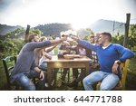 group of friends at restaurant... | Shutterstock . vector #644771788