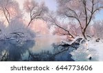 Winter Christmas Landscape In...