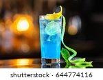 Closeup Glass Of Blue Lagoon...