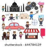 travel and cartoon people... | Shutterstock .eps vector #644784139