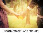 blur loving couple holding... | Shutterstock . vector #644785384