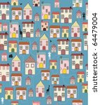 wallpaper of houses on a blue... | Shutterstock .eps vector #64479004