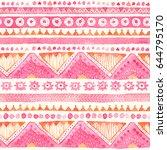 seamless watercolor ethnic...   Shutterstock . vector #644795170