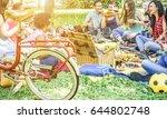 diverse culture friends making... | Shutterstock . vector #644802748
