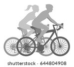 girl and boy ride bicycles on a ... | Shutterstock .eps vector #644804908