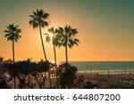 sunset at manhattan beach and...   Shutterstock . vector #644807200