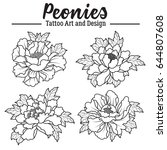 vector peonies tattoo art and... | Shutterstock .eps vector #644807608