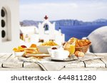 breakfast time and landscape of ... | Shutterstock . vector #644811280