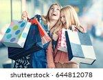 beautiful women enjoying... | Shutterstock . vector #644812078