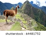 Ancient Inca lost city Machu Picchu, Peru. - stock photo