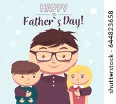 fathers day greeting card  | Shutterstock .eps vector #644823658