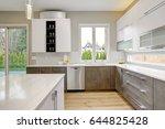 luxury kitchen with white... | Shutterstock . vector #644825428