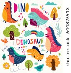 funny poster with dinosaurs and ... | Shutterstock .eps vector #644826913