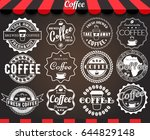set of round vintage retro... | Shutterstock . vector #644829148