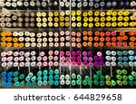 colorful sample paint pots.... | Shutterstock . vector #644829658