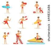 Lifeguard man character doing his job. Water rescue vector Illustrations