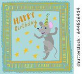 square happy birthday card with ... | Shutterstock .eps vector #644836414