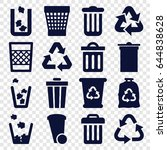 waste icons set. set of 16... | Shutterstock .eps vector #644838628