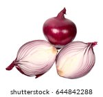bulbs of red onion isolated on... | Shutterstock . vector #644842288