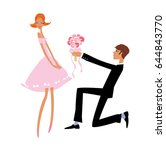 wedding proposal. groom giving... | Shutterstock .eps vector #644843770