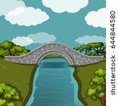 stone bridge over the river. | Shutterstock .eps vector #644844580
