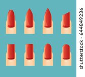 red beautiful nail shape icons... | Shutterstock .eps vector #644849236