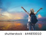 freedom traveler girl standing... | Shutterstock . vector #644850010