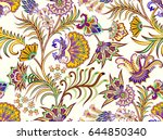 seamless pattern with paisley... | Shutterstock .eps vector #644850340