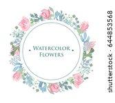 tender watercolor frame of... | Shutterstock . vector #644853568