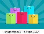 colored shopping bags and... | Shutterstock .eps vector #644853664