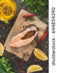 raw fresh steak trout fish on... | Shutterstock . vector #644854390