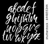 hand drawn dry brush font.... | Shutterstock .eps vector #644855344