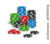 poker chips isolated on white... | Shutterstock .eps vector #644855446