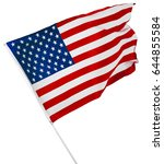 american flag isolated on white | Shutterstock . vector #644855584