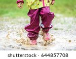 children in rubber boots and...   Shutterstock . vector #644857708
