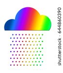 rainbow rain  cloud  rain drops | Shutterstock . vector #644860390