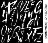 hand drawn dry brush font.... | Shutterstock .eps vector #644864800