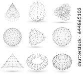 set of wireframe polygonal... | Shutterstock .eps vector #644865103