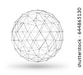 wireframe polygonal geometric... | Shutterstock .eps vector #644865130