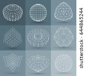 set of wireframe polygonal... | Shutterstock .eps vector #644865244