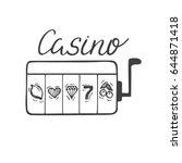 casino sign. slot machine. hand ... | Shutterstock .eps vector #644871418