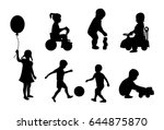 set of black silhouettes... | Shutterstock .eps vector #644875870