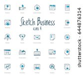 set of black sketch business... | Shutterstock .eps vector #644876314