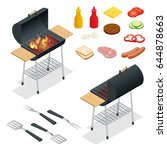 barbecue design elements. grill ... | Shutterstock .eps vector #644878663