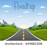 highway drive with beautiful... | Shutterstock .eps vector #644882308