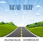 highway drive with beautiful... | Shutterstock .eps vector #644882620