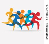 running people set of stylized... | Shutterstock .eps vector #644883976