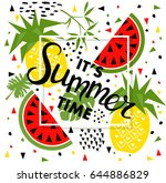 summer banner with watermelon... | Shutterstock .eps vector #644886829