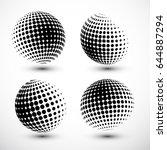 halftone spheres. halftone... | Shutterstock .eps vector #644887294