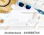 summer beach accessories  white ... | Shutterstock . vector #644888764